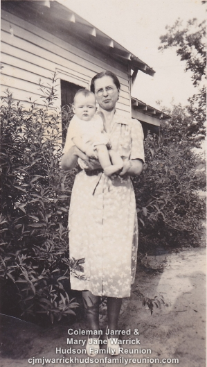 Sallie Hudson Roberts holding her daughter, Colline.