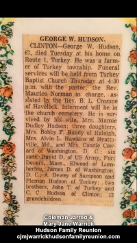 George W. Hudson Obituary 8-5 - 1958