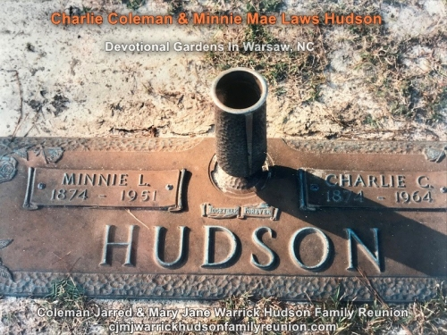 Charlie Coleman & Minnie Mae Laws Hudson - Grave