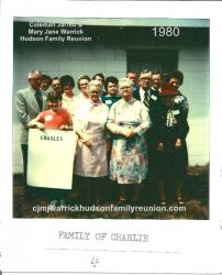 1980 - Family of Charlie - Front row: Melody Register, Elva Hudson Hunter, Alice Hudson Register, Lizzie Hudson Clifton.