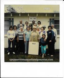 1985 - Family of Sallie: First Row: Frieda Byrd, Rachel Warrick, Rannett Warrick Howell, Sudie Warrick Sanford (holding