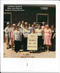 1986 - Family of Sallie (1): First Row: Kelly Ford (holding family sign) Second Row: Dana Gale Evans, Marie Gooding Gay,
