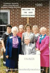 1990 - Family of Charles: Front Row: Tom Hudson Second Row: Elva Hudson Hunter, Dot Hudson Honeycutt, Dora Hunter Barlow