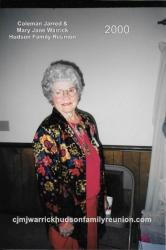 2000 - Oldest Lineal Descendant Present of George - Corneta (Connie) Jane Hudson Coward.